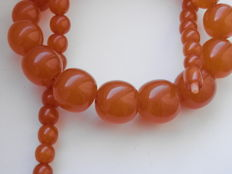 Amber necklace of orange butterscotch colour Baltic amber.  50,7 grams