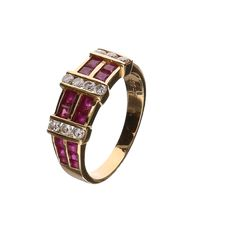 18 kt yellow gold ring, set with 10 brilliant cut diamonds, 0.20 ct in total and 20 synthetic rubies – ring size 17.5