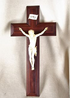French Dieppe cross with ivory figure of Christ - late 19th century
