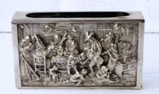 "Antique silver large match box holder - ""The Night Watch"" by Rembrandt."