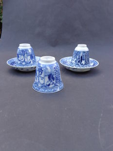 Two 'Lange Lijs' cups and saucers - China - 19th century