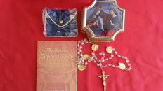 The glorious mysteries rosary, franklin mint,  sterling silver and 22 krt gold  accents