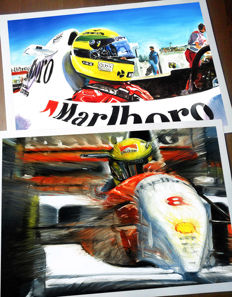 Ayrton Senna McLaren Honda and McLaren Ford Cockpit Helmet Race Car F1 Formula 1 - 2 Art Prints Posters - Hand signed by Artist Andrea Del Pesco + COA.