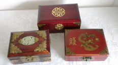 3 Chinese jewellery boxes with jade inlays and brass fittings, very good condition