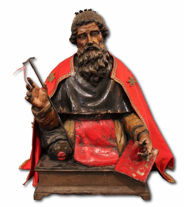 Large sculpture in polychrome wood probably Saint Antonio Abate - Napoli - First half of XVII century