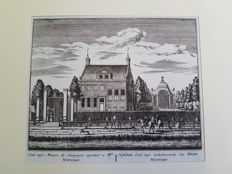 4 topographical prints of Amsterdam - A. Rademakers, residences of well-known locals - ca. 1730