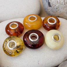 6 Silver and Baltic Amber Bead Charms for European Bracelets - 12x12x8mm