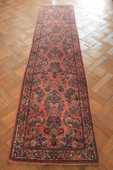 Beautiful antique hand-knotted Persian carpet – Sarough Saruk – runner – made in Iran – 80 x 330 cm
