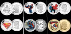6 Pieces Of 1 Oz .999 Copper Plated .999 Silver .999 And Gold - Collectible - Featuring Superman