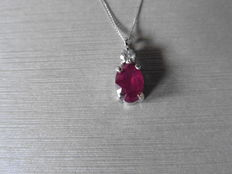 18k Gold Ruby and Diamond Pendant