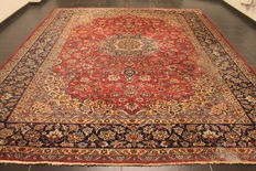 Antique fine hand-knotted Persian carpet, Isfahan, 305 x 377 cm, made in Iran,  antique rug, approx. 200,000 knots per square metre, cork wool, plant dyes