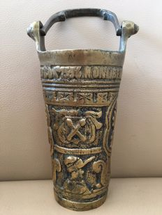 Antique bronze holy water vessel with text, picture, and coat of arms - Portugal - 18th century