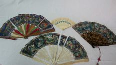Lot of 4 China handheld fans