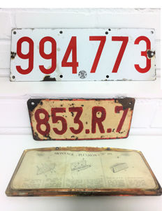 2 Belgian license plates of which 1 in enamel (pre-1952) and a separate license plate holder.