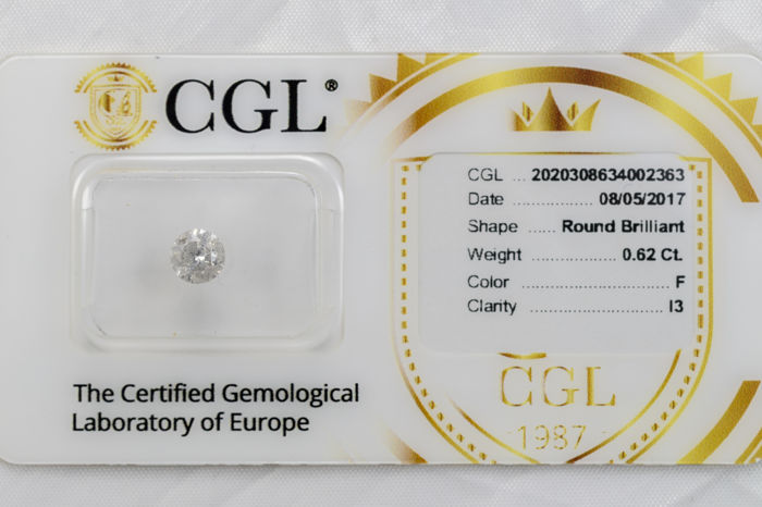 0.62 ct brilliant cut diamond  F  I3   ** Low Reserve **