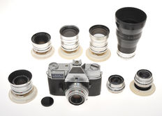 Kodak big outfit with Retina Reflex IV and 8 lenses from 28mm to 200mm