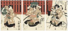 "Original and early tryptich woodcut by Utagawa Kunisada (1786 - 1864), entitled ""Samurai Triplets"" - Japan - 1831"
