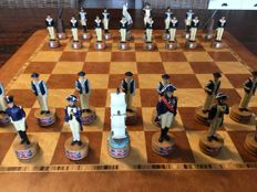 Beautiful chess set, theme English/French naval battle  Without chessboard