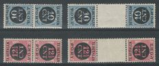 The Netherlands 1924 – Postage Due Tête-bêche Pairs, Including Plate error – NVPH P67a/P68b