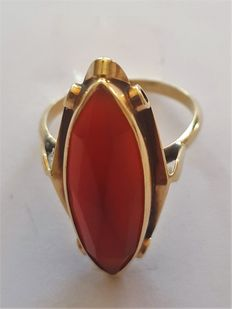 Gold ring with carnelian.