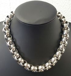 Silver necklace 925 – Length:  46 cm – width:  1.3 cm – weight:  155 g