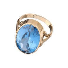 14 kt yellow gold ring, set with synthetic aquamarine – ring size 17