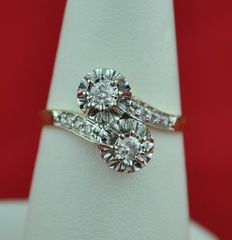 "1940's Diamond (0.40ct) & 18K white/Yellow Gold Antique ""TOI et MOI"" Ring"