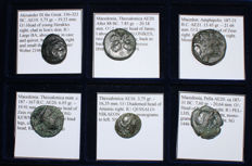 Greek Antiquity - Lot of 6 Greek Coins - Alexander the Great, Thessalonica, Amphipolis, Pella - All Classified