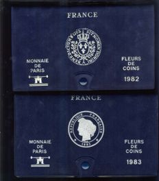 France – Monnaie de Paris – Lot of 2 FDC Year - Set of boxes from1982 & 1983.