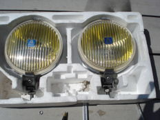 Two used HELLA FOG LIGHTS type 140 with a diameter of 140 mm from the 1970s and 1980s