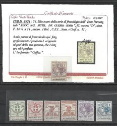 Italy, 1924 – State-controlled organisations – National Association of Amputees and War Invalids in Roma –  5¢–₤ 3 – Sassone catalogue no. 5–11