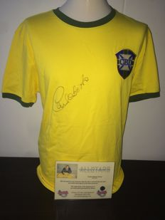 Carlos Alberto (RIP) Signed Brazil World Cup 1970 shirt + COA inc Photoproof.