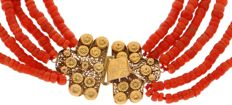 Five-strand precious coral necklace with a 14 kt gold hook clasp, Zuid-Beveland