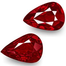 Ruby, Pigeon's Blood ( Vivid Red ) Pair - 3.18 ct total