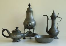 Antique pewter objects -Set of 4 - Netherlands-Germany- ca late 19th century or early 20th century