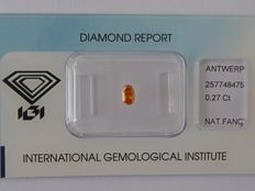 Natural fancy Deep  Yellowish Orange   diamond 0.30ct  with IGI certificate