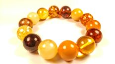 Round beads modified multicolour Baltic Amber bracelet, 38 grams