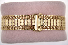 Filigree gold bracelet made of solid 585 / 14 kt yellow gold 21.35 g
