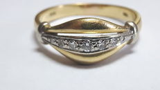 18 kt yellow gold ring with 0.08 ct diamonds - Size 17