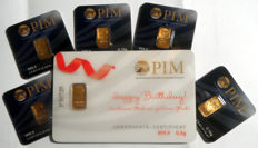 "6 pcs. gold bars Nadir PIM fine gold 999.9/1000 sealed 24 Karat Goldbarren Bullion Gold LBMA certified ;  1 pc. 0.5g  Giftcard ""Happy Birthday"",  5 pcs. Goldbars each 0.10g"