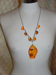 Old amber and 800 silver amber necklace, 54.34 g