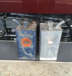 2 old Petroleum cans Gulf and Esso