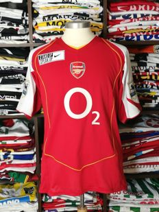 Dennis Bergkamp / Arsenal FC - Very Rare 'Stand Up Speak Up' Nike Anti-racisme home shirt PL 2004/05.