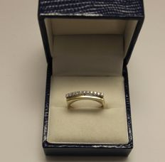 14 kt 2 coloured gold eternity ring with brilliant cut diamonds 0.11 ct G/VSI - size 15