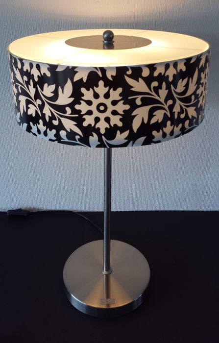 "Jan de Bouvrie for Boxford-""table lamp"" of glass and plastic on metal base."