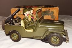 "Nomura, Japan - Length: 28 cm - ""Radio Jeep"" tin toy with battery, 1960s"