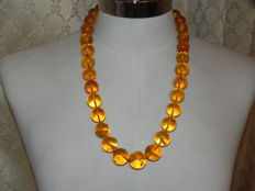 Amber sphere necklace, old amber necklace, natural Baltic amber, honey colour, 86.6 g.