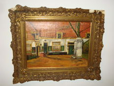 J. Michaelowsky (19th/20th century) - Hofje in the city (Courtyard in the City)