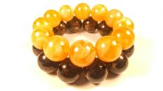 Round beads modified Baltic amber  bracelet Egg yolk and Black color, set of 2, 102 gr.