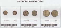 Straits Settlements - 10 cents 1919, 20 cents 1919 and 50 cents 1920 George V (total 3 coins) - silver
